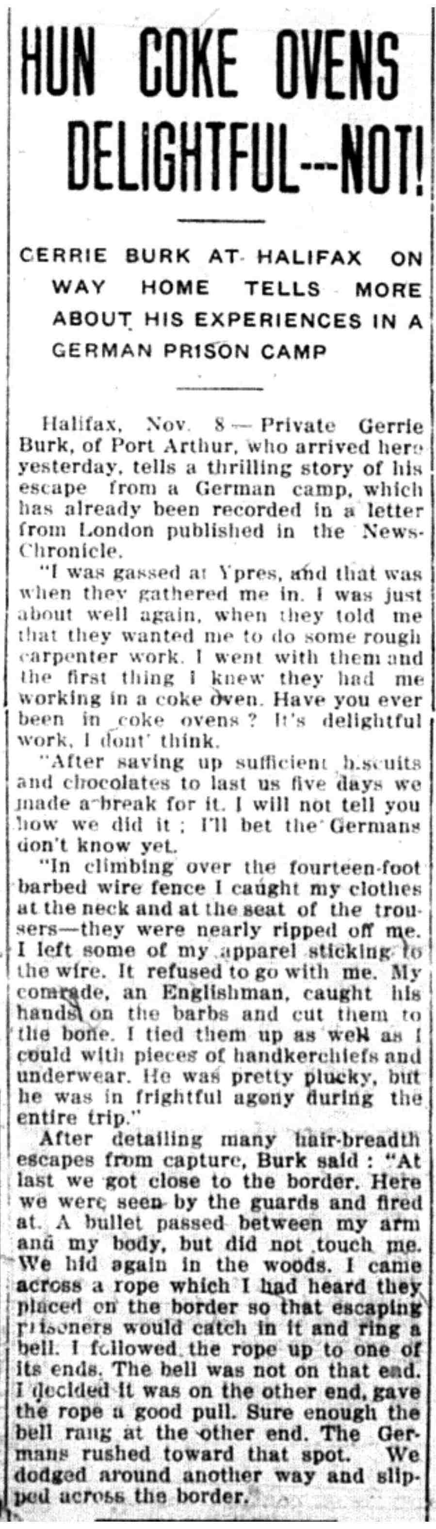IHun Coke Ovens Delightful---Not! November 9, 1916