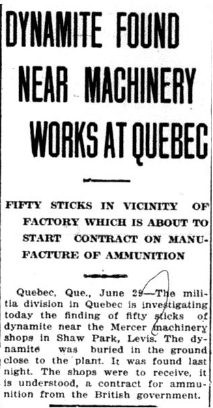 Dynamite Found Near Machinery Works at Quebec