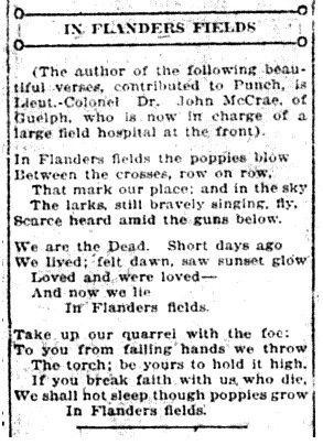 In Flanders Fields February 8, 1916