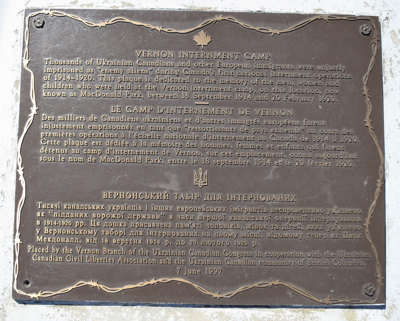 Vernon Internment Camp plaque cropped